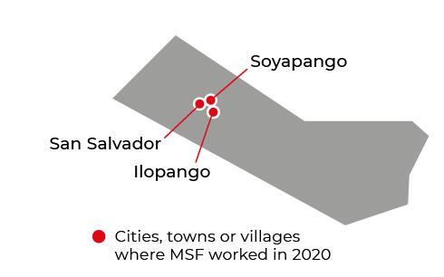 Map of MSF activities in 2020 in El Salvador