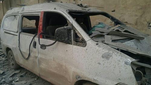 Damaged hospital car in East Ghouta, Syria