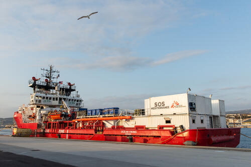 Ocean Viking – Restocking of supplies in the port of Marseille, France