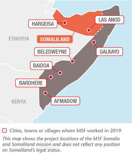 Somalia MSF projects in 2019