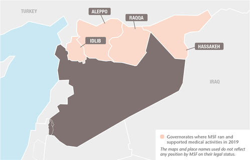 Syria MSF projects in 2019