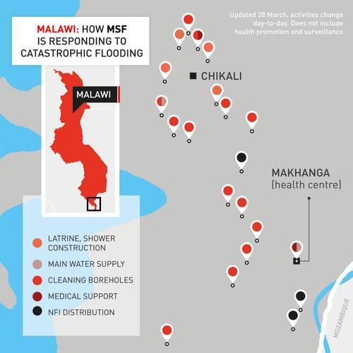 Map of MSF's emergency response in Makhanga, Malawi