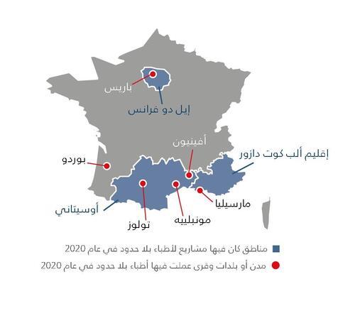 خريطة أنشطة أطباء بلا حدود في فرنسا في عام 2020