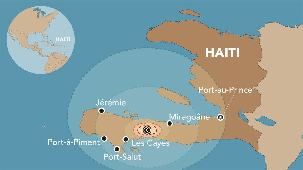 Map of August 2021 Earthquake and MSF supported areas in Haiti.